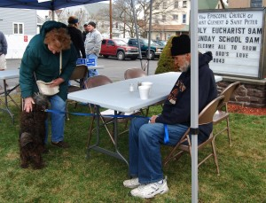 man and dog stop for soup 4-11-15